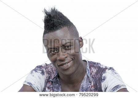 Sculptural face and Mohican hairstyle