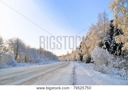 Road covered with snow.