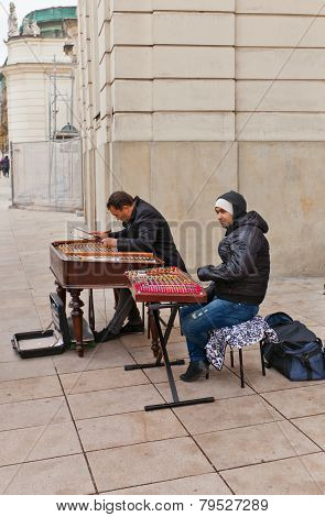 Cimbalom Players In Warsaw, Poland