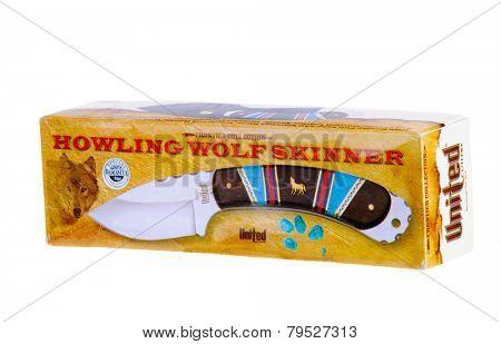 Hayward, CA - December 31, 2014: Howling Wolf Skinner knife in presentation box