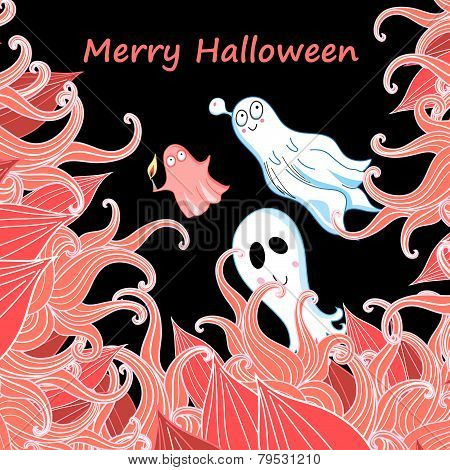 Card With Ghosts For Halloween