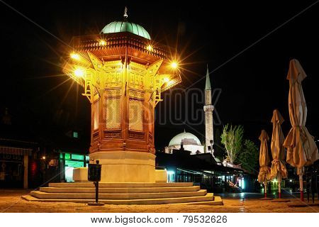 Sarajevo - Historical fountain  in Old Town at night - Bosnia and Herzegovina