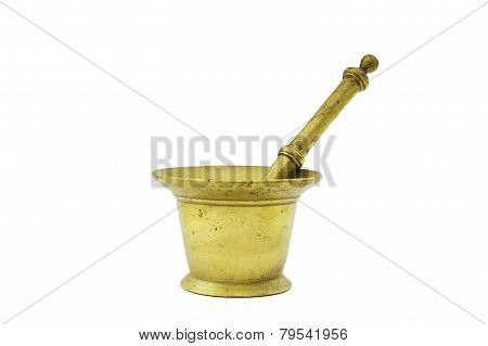 Old bronze mortar and pestle on white background