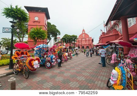 Decorative Trishaw At Malacca City Malaysia.