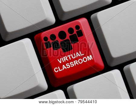 A red Computer Keyboard showing virtual classroom poster