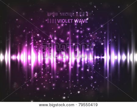 Vector music equalizer wave, colored violet. Contains blurry particles and bright lights for your design.