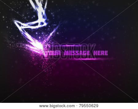 Abstract design of text being struck by bright lightning, releasing a lot of energy. Dark violet background is used