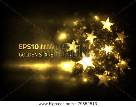 EPS10 Vector golden stars design against dark background