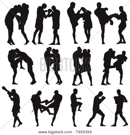 Muay Thai martial art vector silhouettes collection poster