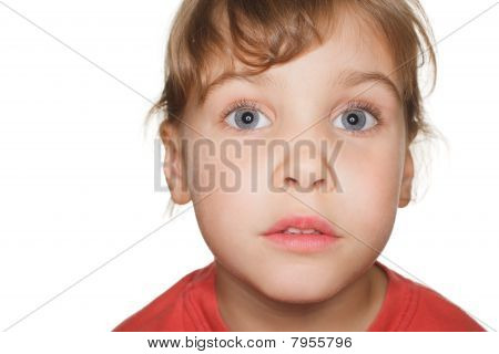 portrait small child in a red t-shirt