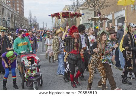 Colorful, Costumed Mardi Gras Paraders