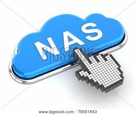 Clicking A Cloud Shaped Nas Button, 3D Render