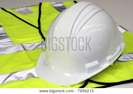 Hard Hat and Hi Vis Vest