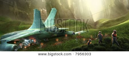 space shuttle on a wild planet