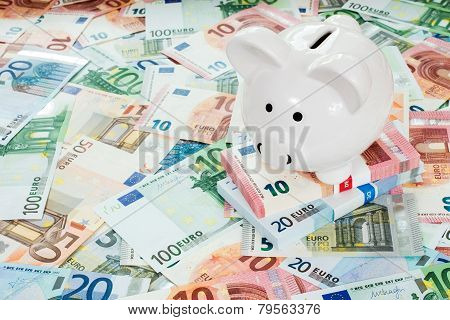 Piggy Bank Placed On Euro Banknotes