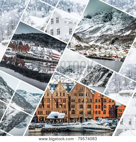 Collage of photos from Bergen, Norwegia
