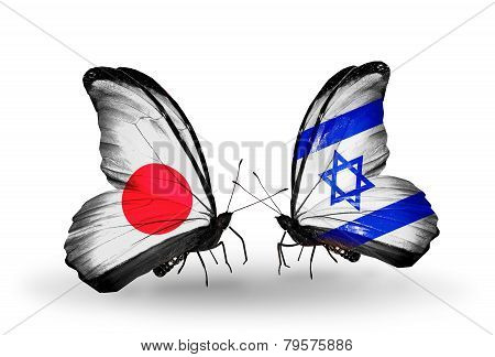 Two Butterflies With Flags On Wings As Symbol Of Relations Japan And  Israel