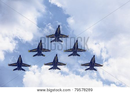 Blue Angels In Formation Flying