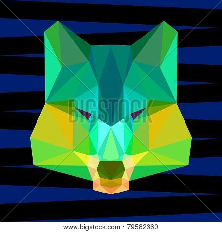 Bright green colored abstract polygonal wolf background