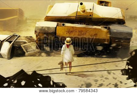 Little girl and tank.