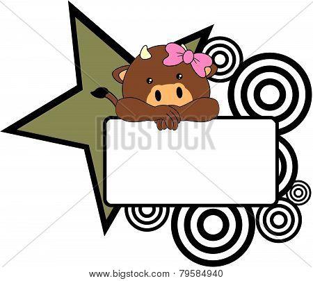 sweet girl bull cartoon singboard