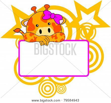 sweet girl giraffe cartoon singboard