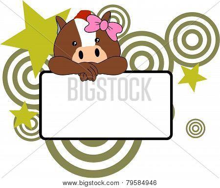 sweet girl horse cartoon singboard