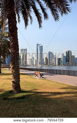 Embankment of Khalid Lagoon. Sharjah in UAE poster