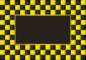 checkered gold and black picture frame with blank center poster