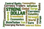 Strong Dollar word cloud on white background poster