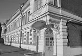 Old building Obukhov factory in St. Petersburg Russsia. Black and white. poster