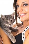 shot of a gorgeous latino woman with kitty poster