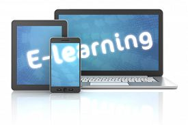 Smartphone, Tablet And Laptop With E-learning Text, 3D Render
