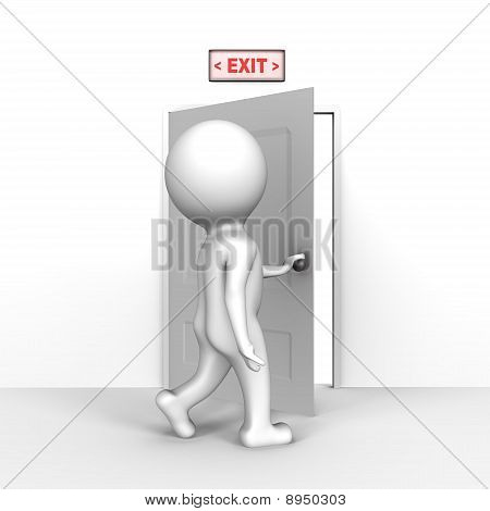 Human opening the exit door - a 3d image