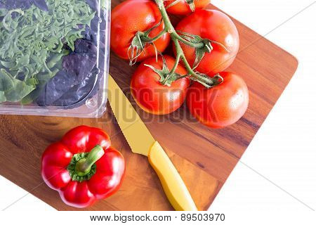 Healthy Fresh Salad Ingredients On A Cutting Board