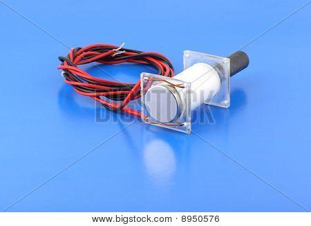 Ultrasonic Transducer On The Blue Background