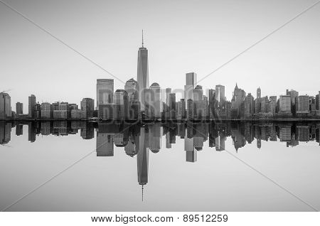 Manhattan Skyline With The One World Trade Center Building At Twilight
