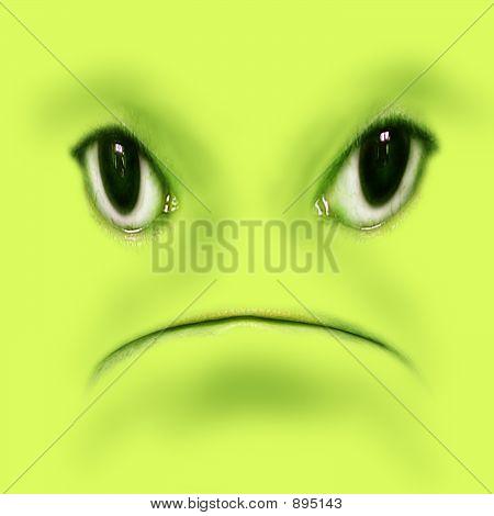 Green Unhappy Frog Face