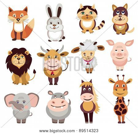 set of animals icons (vector illustration)