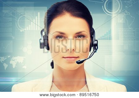 business, office, technology, future concept - friendly female helpline operator