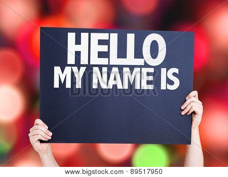 Hello My Name Is card with bokeh background