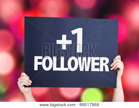 +1 Follower card with bokeh background