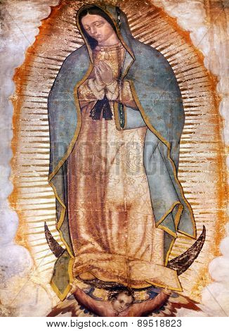 Original Virgin Mary Guadalupe Painting New Basilica Shrine Mexico City Mexico