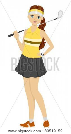Illustration of a Teen Girl holding a Golf Club