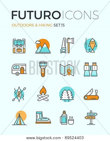 Outdoors And Hiking Futuro Line Icons