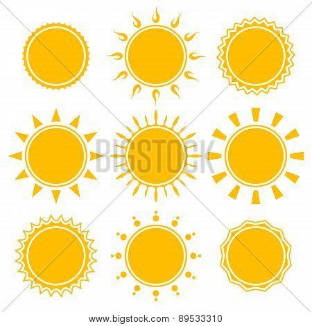 Set Of Shiny Bright Yellow Sun