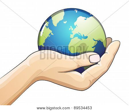 Hand holding the earth globe on white background. Saving the earth concept. Earth Day illustration. poster