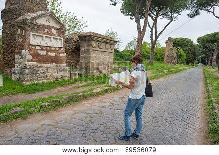 Tourism Around Rome Old Town, Italy