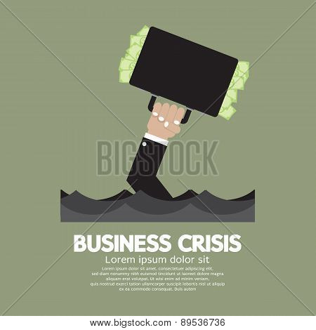 Plentiful Money Briefcase Of A Sank Businessman : Business Crisis Concept.