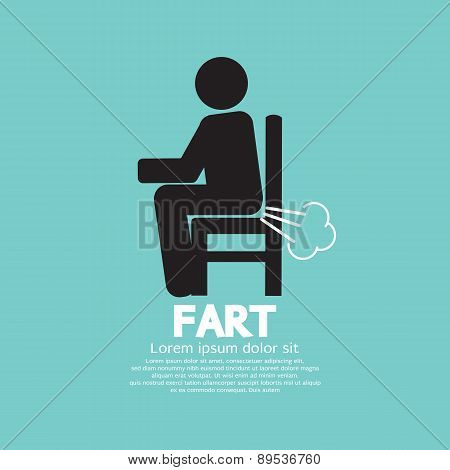 Farting Man On A Chair Black Symbol.